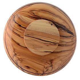 Patena platillo madera olivo Tierra Santa y latón s2