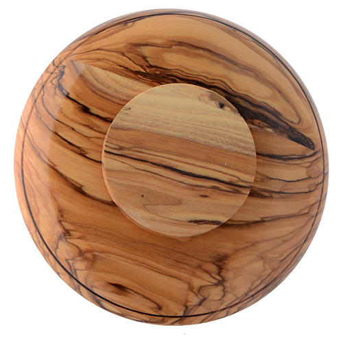 Patena platillo madera olivo Tierra Santa y latón 2