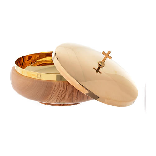 Offertory paten in Assisi seasoned olive wood 2