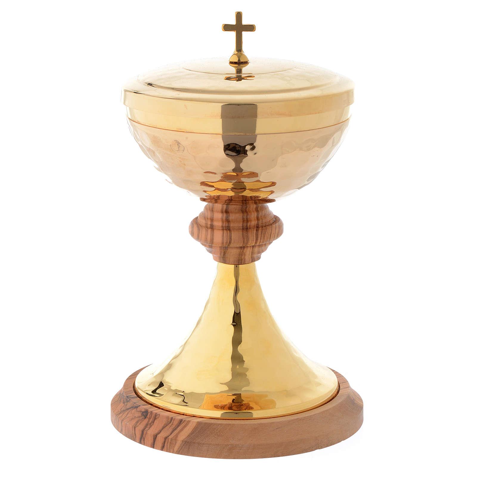 Pisside legno olivo stagionato Assisi e ottone dorato martellato 4