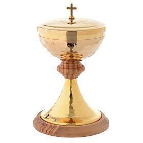 Pisside legno olivo stagionato Assisi e ottone dorato martellato s1
