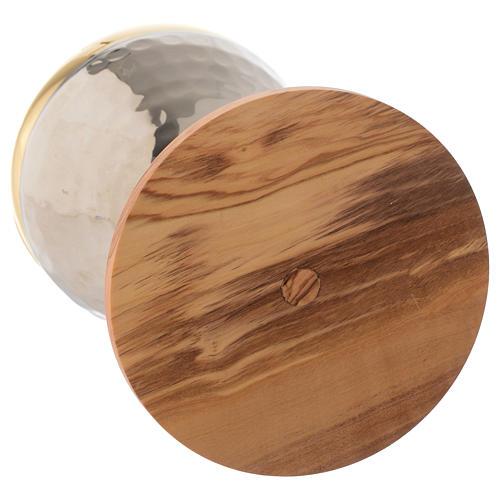 Pisside legno olivo stagionato Assisi e ottone argentato martellato 3