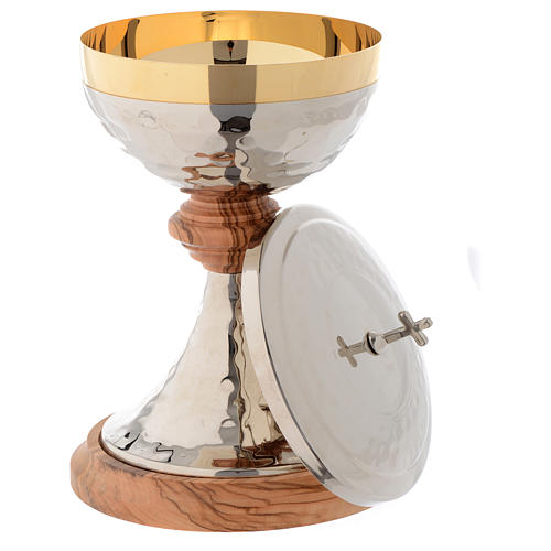 Ciborium in Assisi seasoned olive wood and hammered silver brass 2