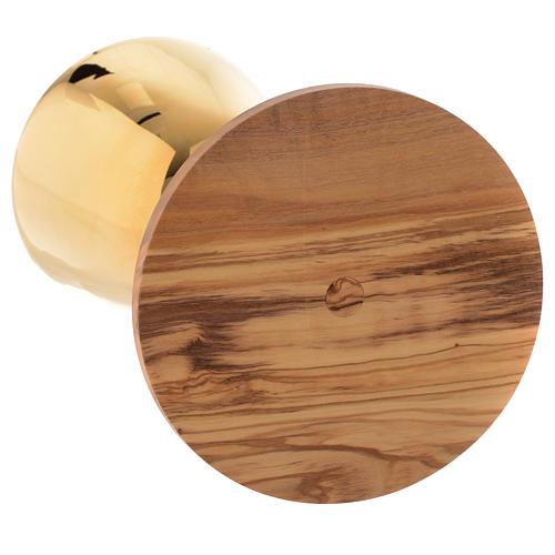 Calice de messe bois olivier Assise vieilli laiton doré 3