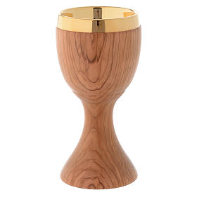 Chalice in Assisi seasoned olive wood 20 cm s2