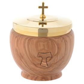 Pisside bassa ulivo stagionato Assisi con tau intarsiato s1