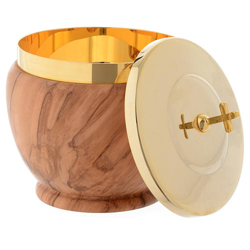 Ciborium in Assisi seasoned olive wood, low with stylised cross 2