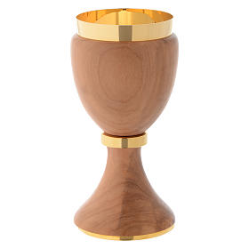 Chalice in Assisi seasoned olive wood with steel node s2
