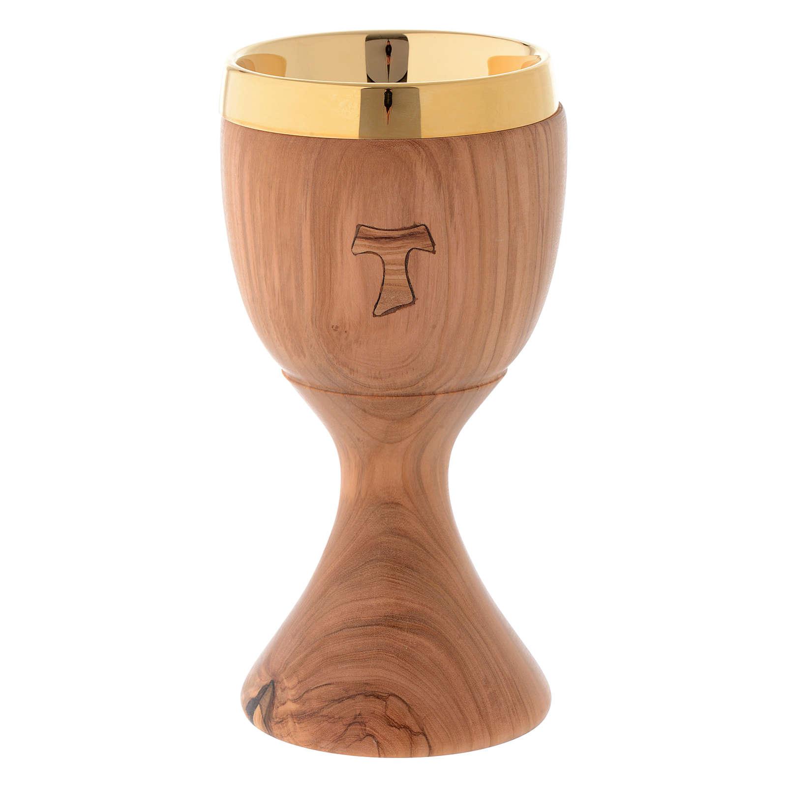 Olive wood chalice engraved Tau h 20 cm 4