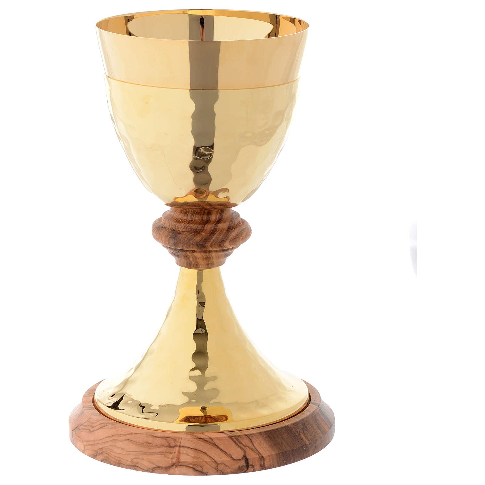 Calice ottone martellato dorato e olivo stagionato di Assisi 4