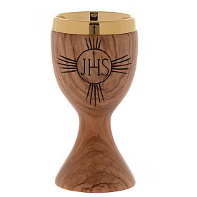 Olive wood chalice engraved IHS s1