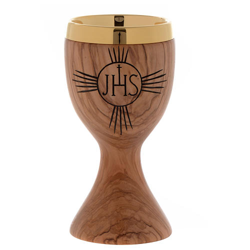 Olive wood chalice engraved IHS 1
