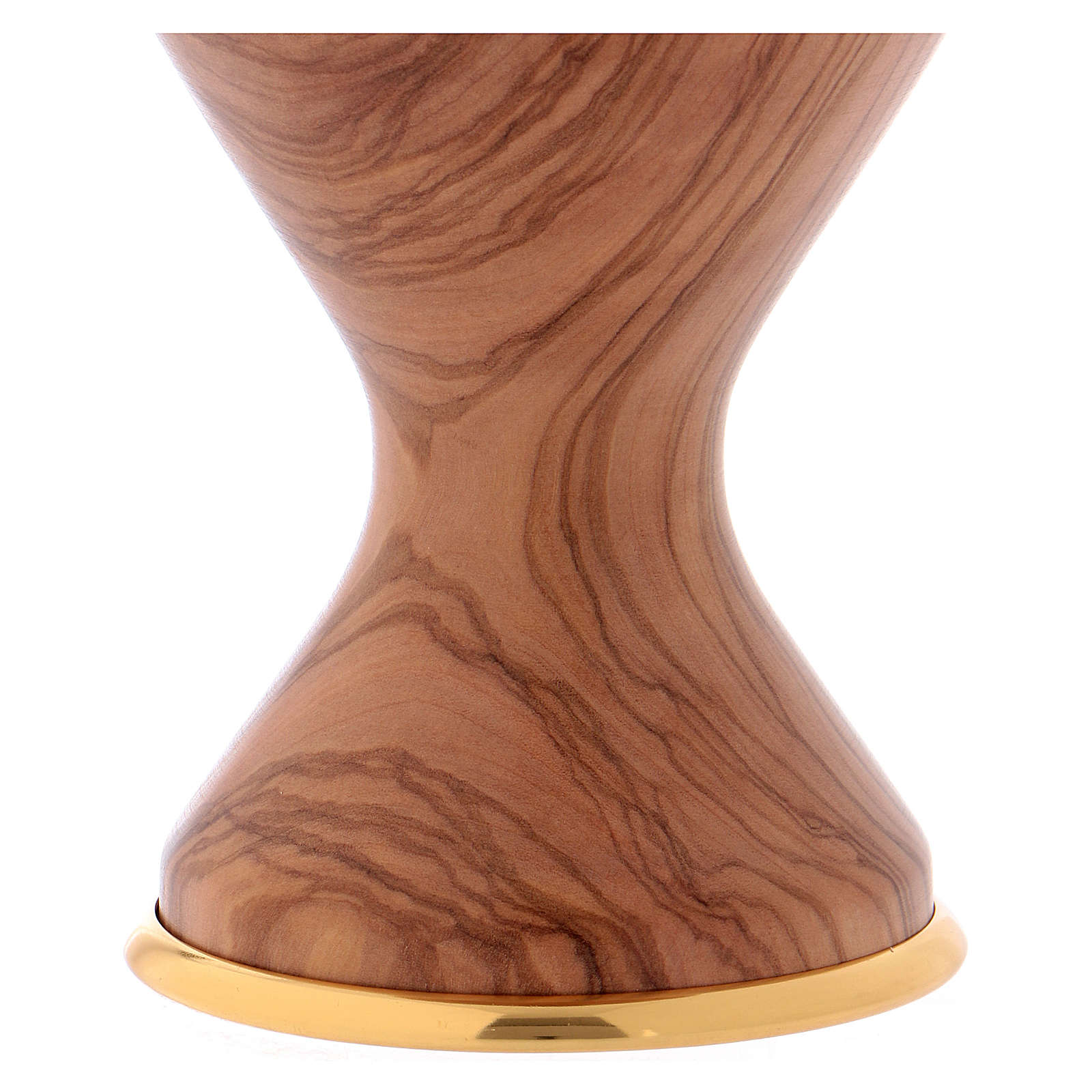 Calice in ulivo con coppa in metallo 4