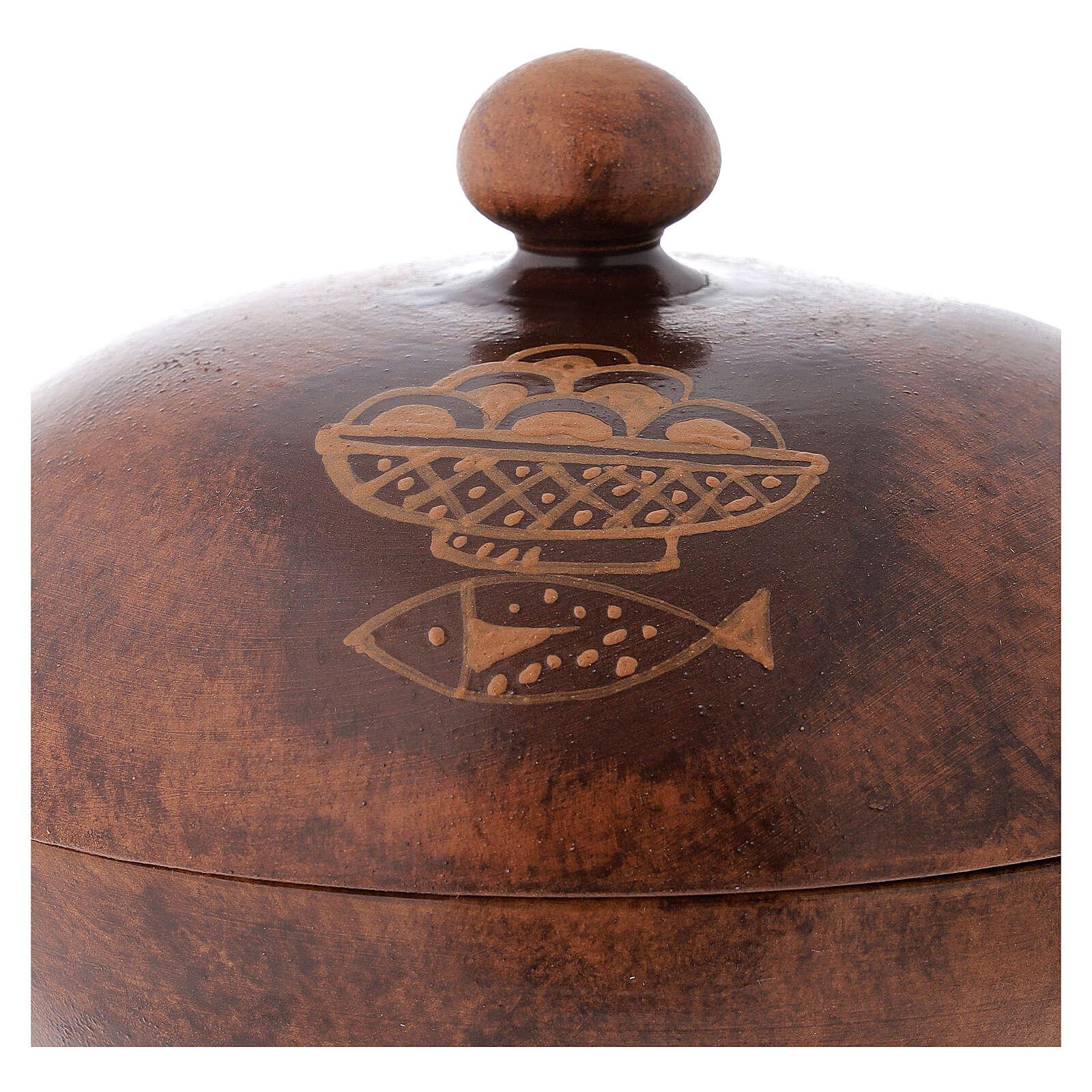 STOCK Copón cerámica y latón dorado motivo pan y peces diám 15 cm 4