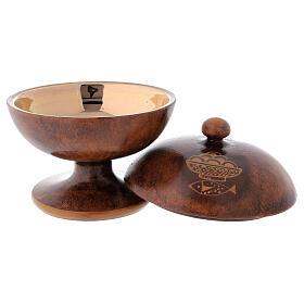 STOCK Copón cerámica y latón dorado motivo pan y peces diám 15 cm s2