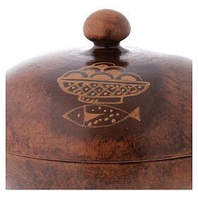STOCK Copón cerámica y latón dorado motivo pan y peces diám 15 cm s3