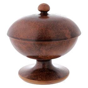 STOCK Pisside ceramica e ottone dorato decoro pane e pesci diam 15 cm s4