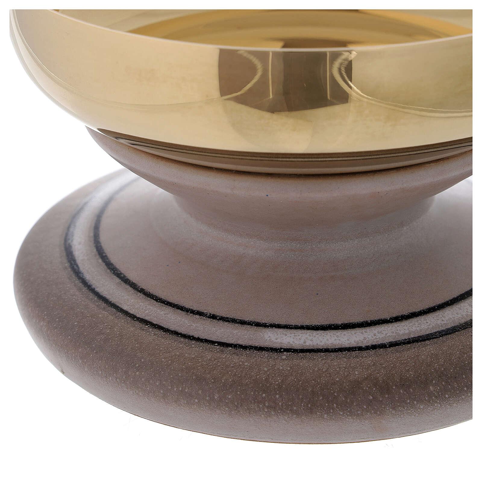 STOCK Patène céramique et laiton doré diam. 14 cm 4