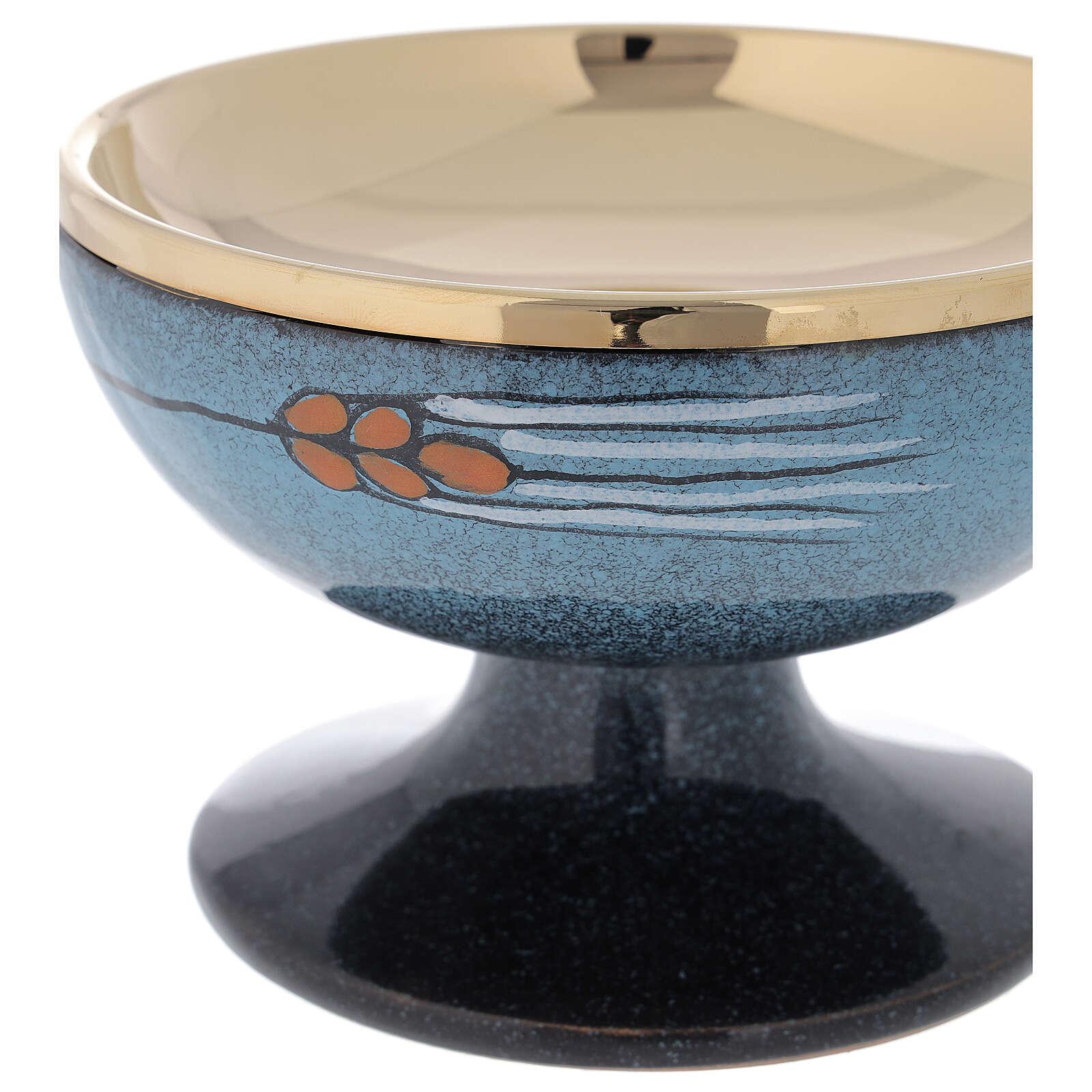 STOCK Patène céramique bleue et laiton doré décoration épi rouge diam. 15 cm 4