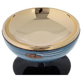 STOCK Patène céramique bleue et laiton doré décoration épi rouge diam. 15 cm s4