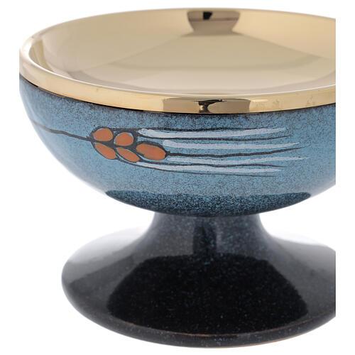 STOCK Patène céramique bleue et laiton doré décoration épi rouge diam. 15 cm 2