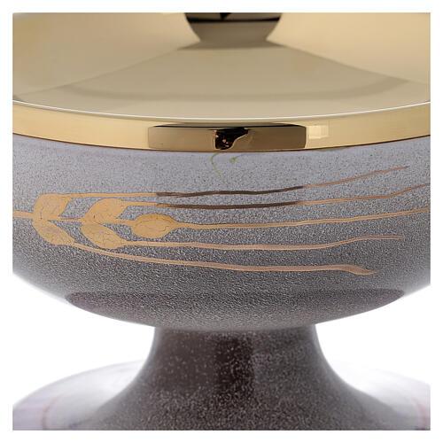 STOCK Patena cerámica perla latón dorado motivo espiga dorada diám 15 cm 2