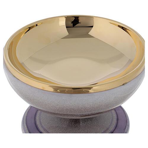 STOCK Patena cerámica perla latón dorado motivo espiga dorada diám 15 cm 4