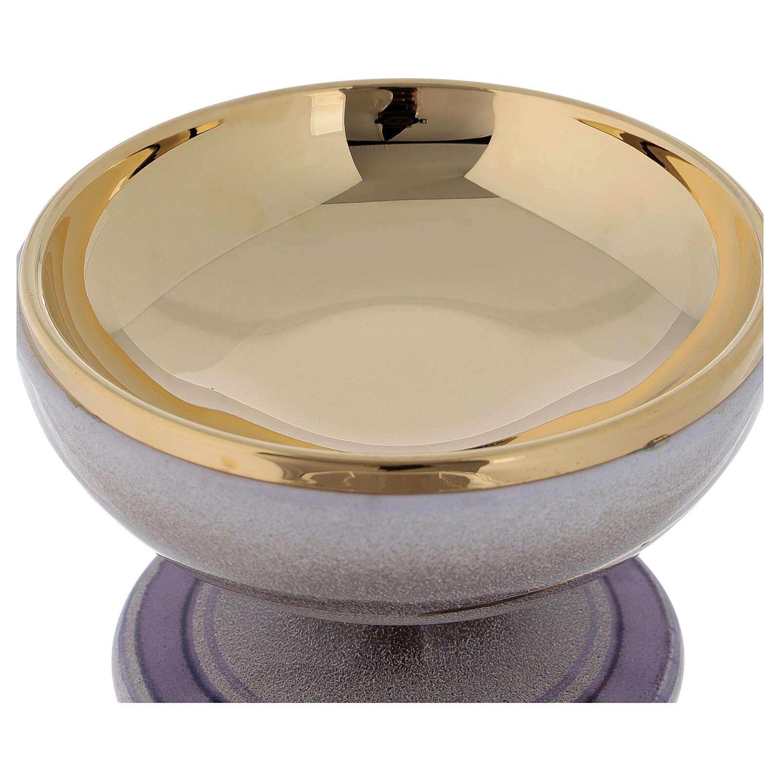 STOCK Patène céramique nacre laiton doré décoration épi doré diam. 15 cm 4