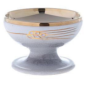 STOCK Patène céramique nacre laiton doré décoration épi doré diam. 15 cm s1