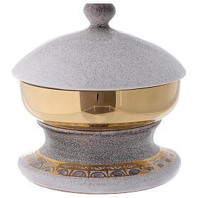 STOCK Copón cerámica blanca latón dorado motivo pan y peces diám 15 cm s4