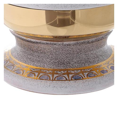 STOCK Copón cerámica blanca latón dorado motivo pan y peces diám 15 cm 5