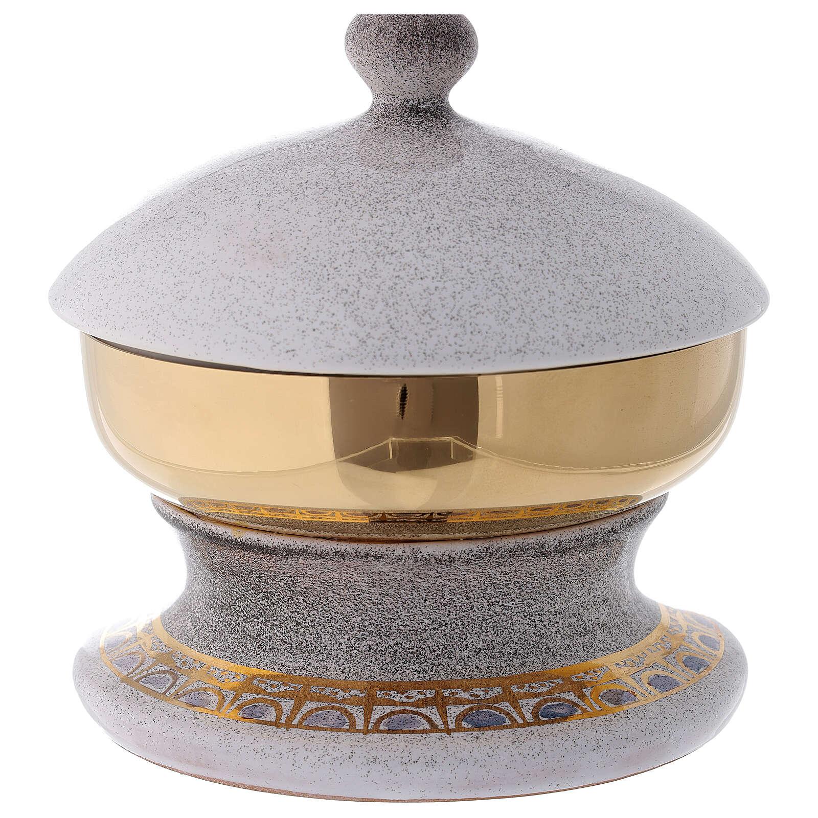 STOCK Ciboire céramique blanche laiton doré décoration pain et poissons diam. 15 cm 4