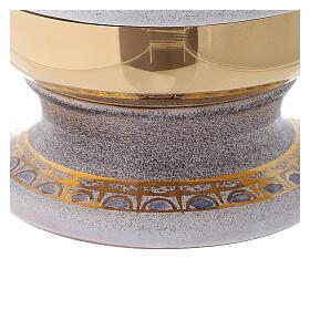 STOCK Pisside ceramica bianca ottone dorato decoro pane e pesci diam 15 cm s5