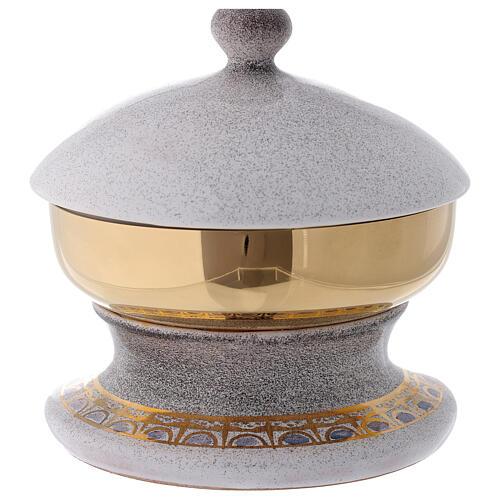 STOCK Pisside ceramica bianca ottone dorato decoro pane e pesci diam 15 cm 4
