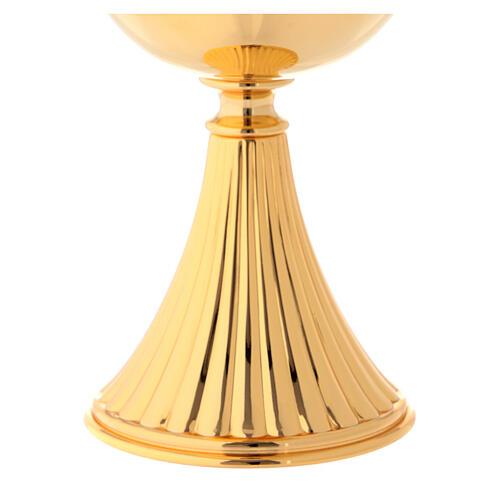 Píxide latão dourado h 17 cm base com ranhuras 3