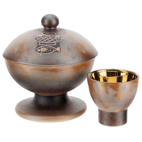 STOCK Pisside due specie ceramica Pompei 16 cm 1