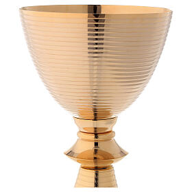 Striped gold plated brass chalice and paten 8 1/4 in s2