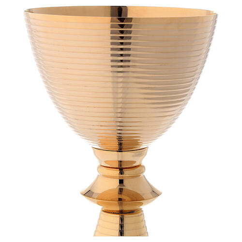 Striped gold plated brass chalice and paten 8 1/4 in 2