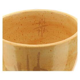 Cálice pequeno cerâmica Linha Caná cor de mostarda 12 cm s3