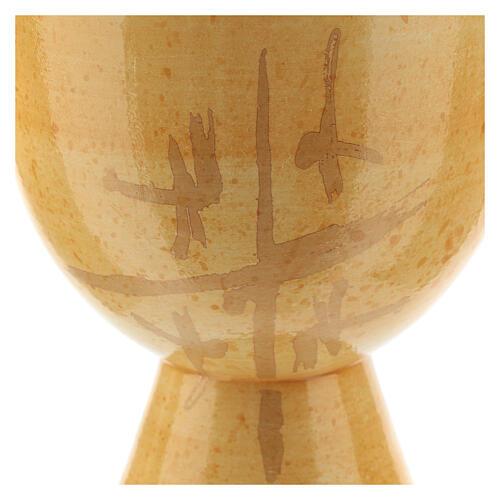 Cálice pequeno cerâmica Linha Caná cor de mostarda 12 cm 2