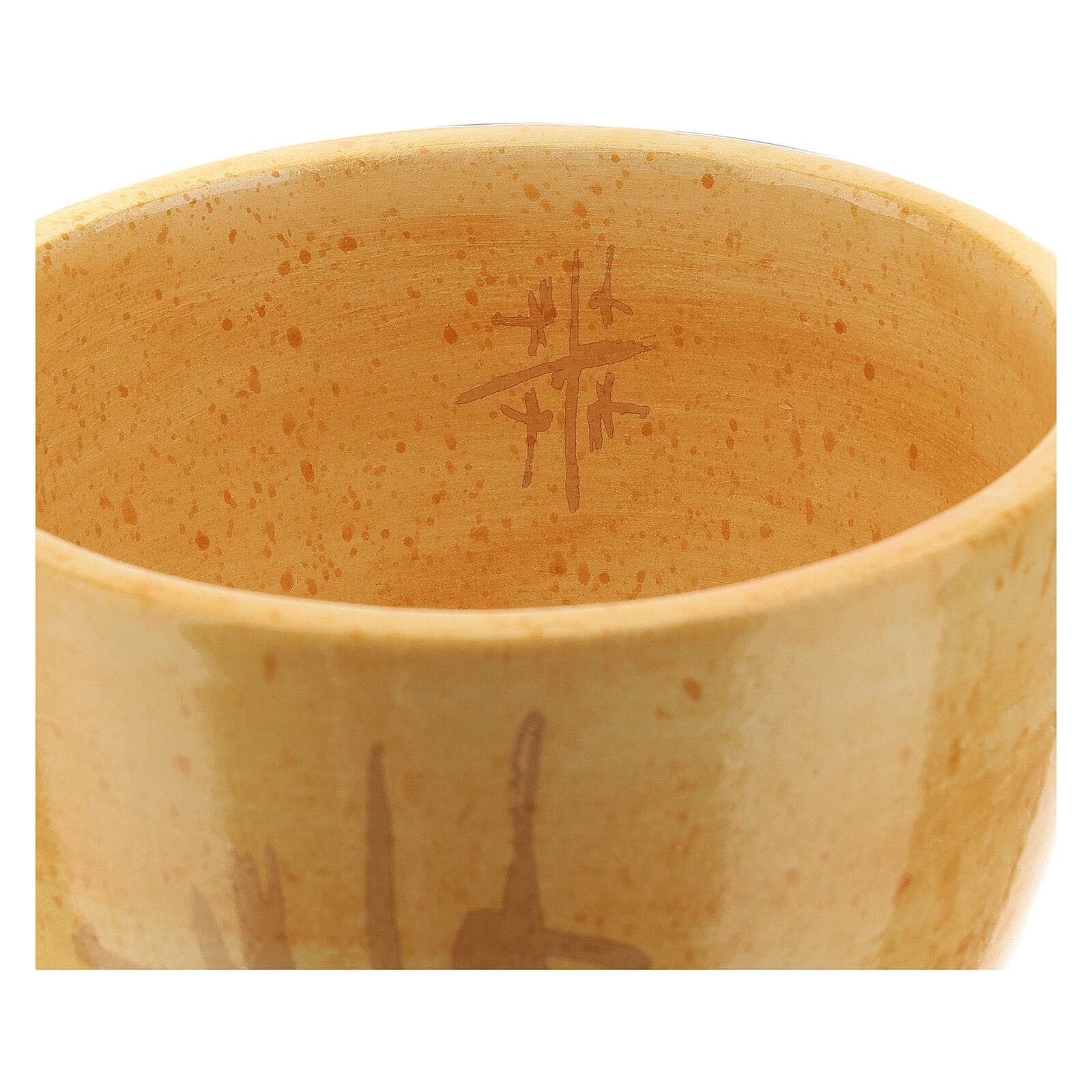 Ceramic chalice, Cana Line mustard 12 cm 4