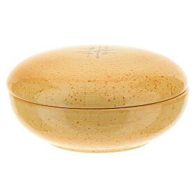 Patene mit Deckel Linie Kana senffarbige Keramik s1