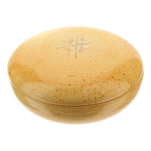 Patene mit Deckel Linie Kana senffarbige Keramik 4