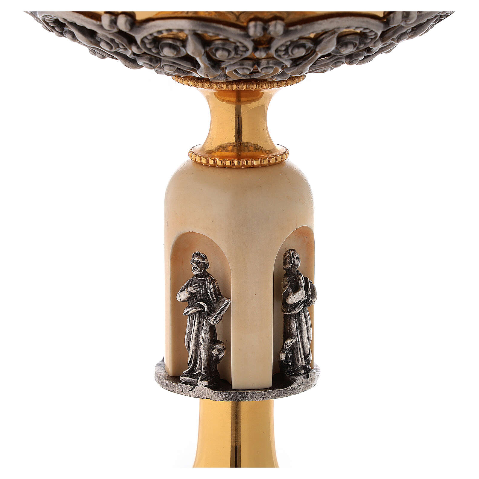 Calice pisside patena Evangelisti agnello ottone bicolore 4