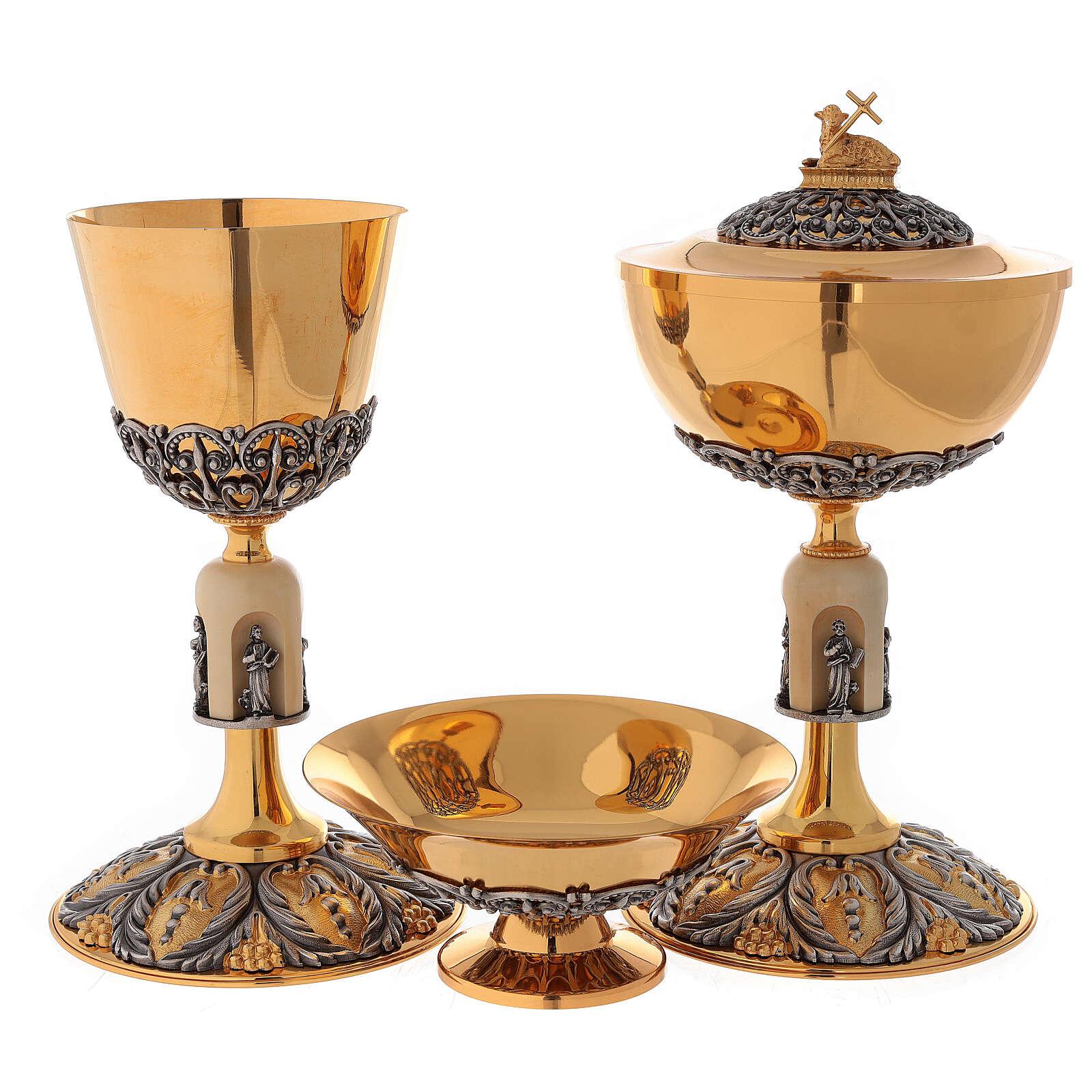 Chalice ciborium paten, Evangelists lamb in two-toned brass 4