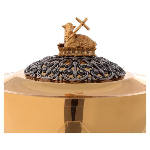 Chalice ciborium paten, Evangelists lamb in two-toned brass 2