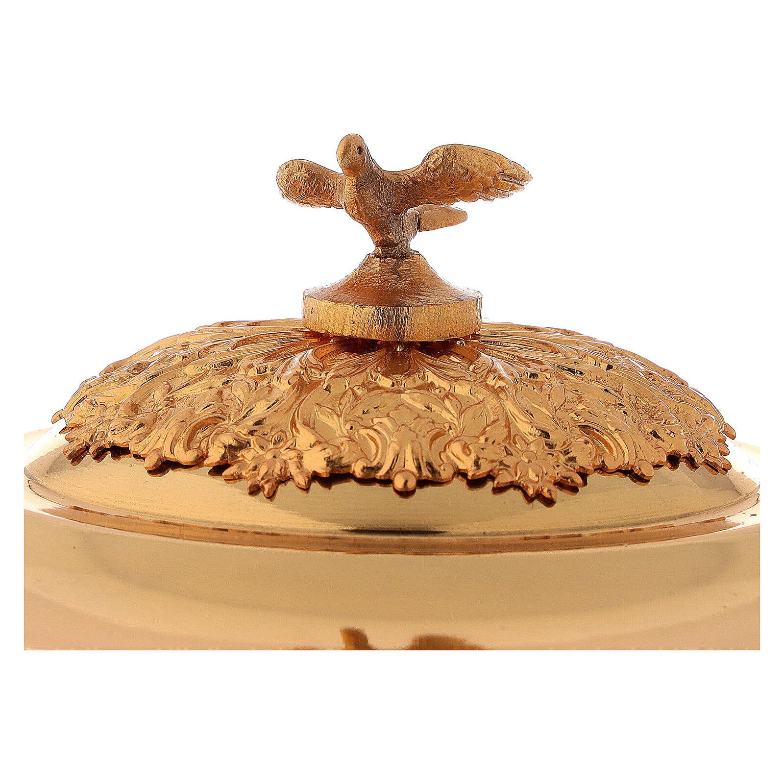 Calice pisside patena ottone dorato alpacca rami fiori 4