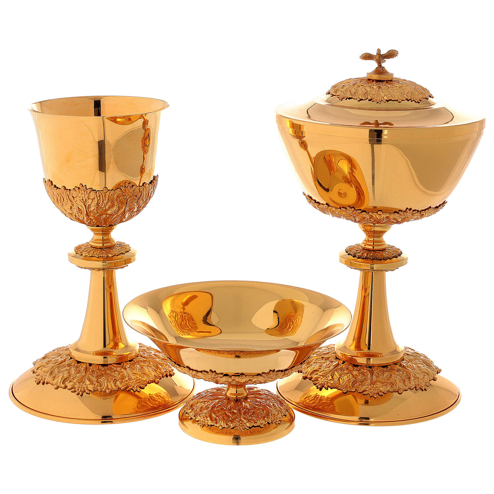 Chalice ciborium paten set, in golden brass nickel silver branches flowers 4