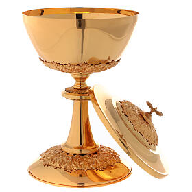 Chalice ciborium paten set, in golden brass nickel silver branches flowers s5