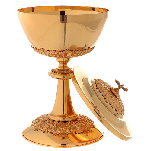 Chalice ciborium paten set, in golden brass nickel silver branches flowers 5